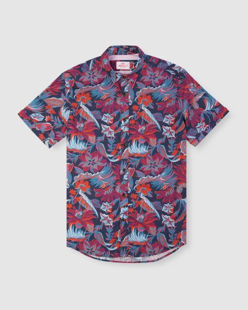Enlarge  BROOKSFIELD Mens Hawaiian Print Short Sleeve Casual Shirt BFS948 NAVY