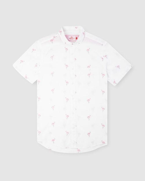 Enlarge  BROOKSFIELD Mens Flamingo Print Short Sleeve Casual Shirt BFS950 PINK