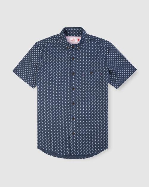 Enlarge  BROOKSFIELD Mens Train Print Short Sleeve Casual Shirt BFS951 NAVY