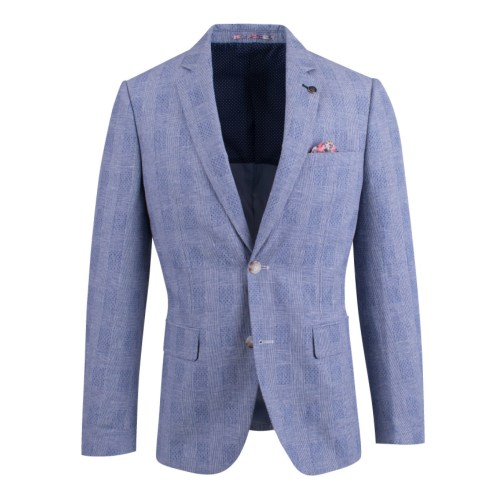 Brooksfield Linen Blend Prince of Wales Check Blazer BFU807 colour: BLUE