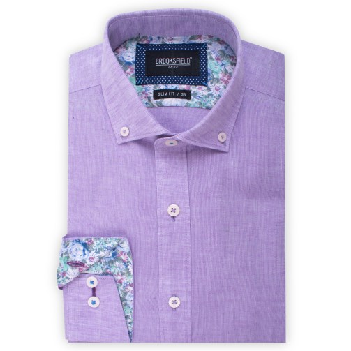 Brooksfield Plain Textured Linen Blend Shirt BFC1524 colour: LILAC