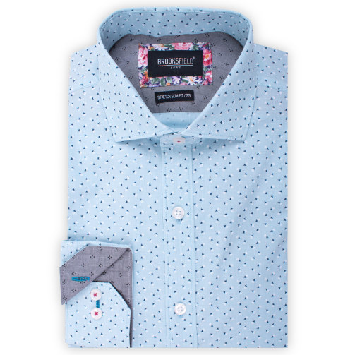 Brooksfield Luxe Stretch End on End Flower Print Shirt BFC1531 colour: TEAL