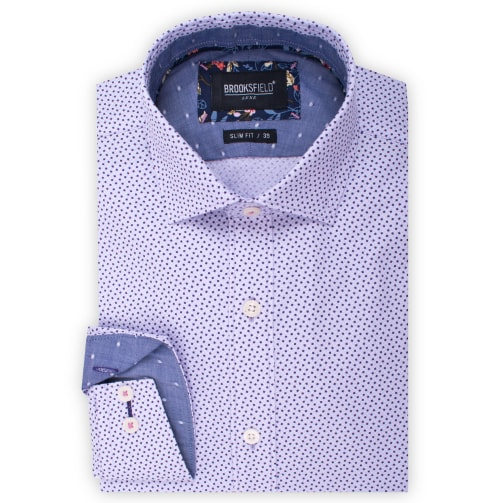 Brooksfield Texutred Square Print Shirt BFC1532 colour: LILAC