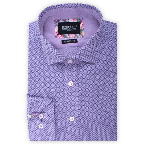 Brooksfield Linen Blend Clover Print Shirt BFC1534 colour: PURPLE