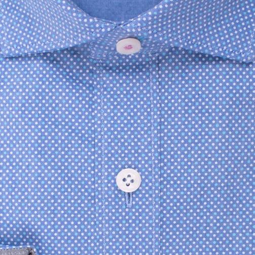 Enlarge  BROOKSFIELD Mens Luxe Stretch Chambray Dot Print Shirt BFC1535 AQUA