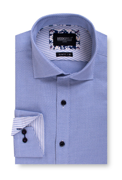 Brooksfield Luxe Three Tone Textured Business Shirt BFC1540 colour: BLUE