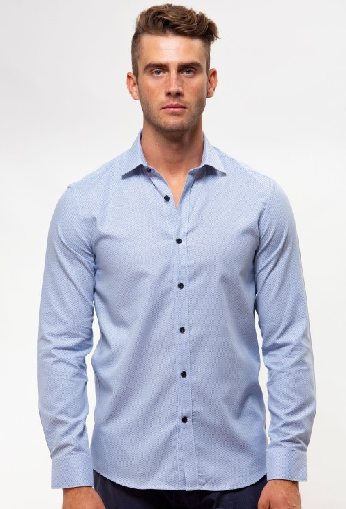 Enlarge  BROOKSFIELD Mens Luxe Three Tone Textured Business Shirt BFC1540 BLUE