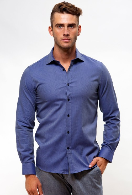 Enlarge  BROOKSFIELD Mens Luxe Textured Dobby Business Shirt BFC1554 NAVY