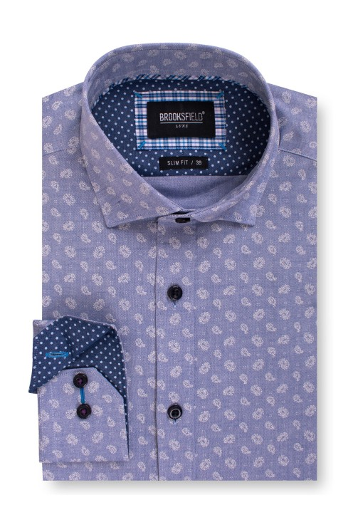 Brooksfield Luxe Paisley Print Oxford Business Shirt BFC1562 colour: NAVY