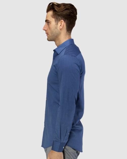 Enlarge  BROOKSFIELD Mens Career Textured Weave Business Shirt BFC1580 NAVY