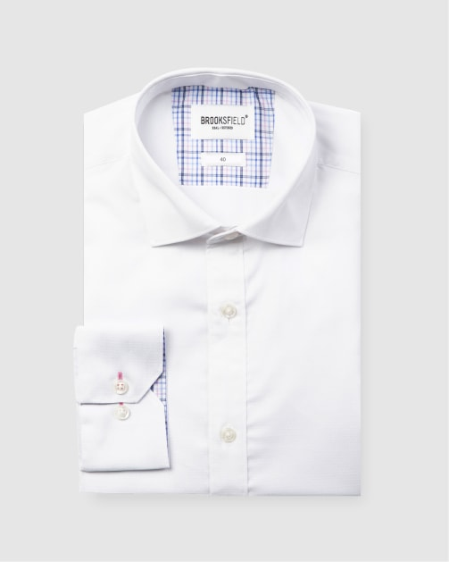 Brooksfield Career Diamond Weave Business Shirt BFC1581 colour: WHITE