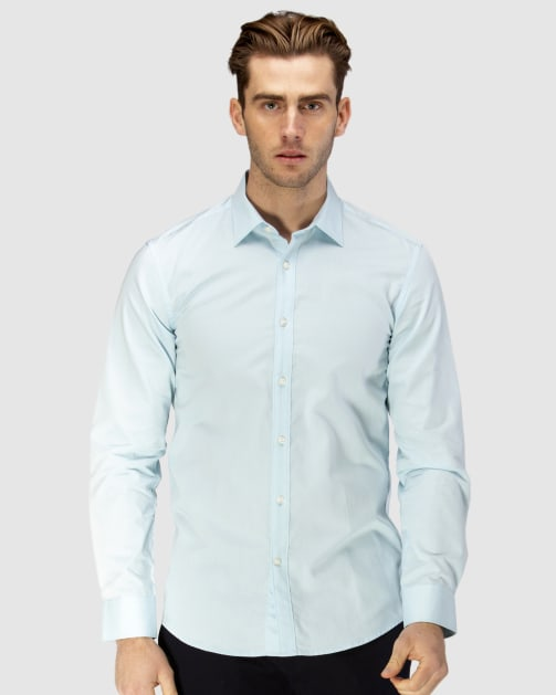 Enlarge  BROOKSFIELD Mens Career Floating Dot Dobby Business Shirt BFC1582 AQUA