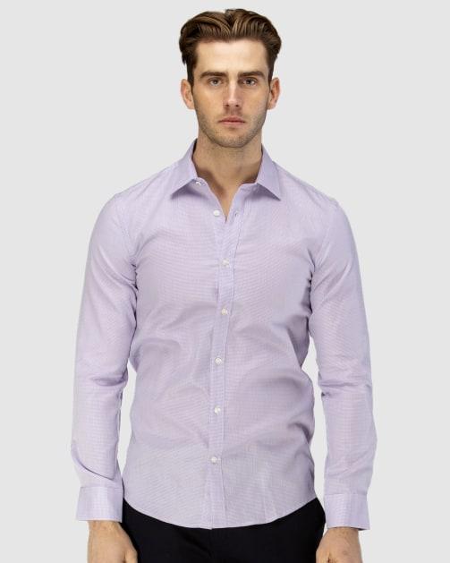 Enlarge  BROOKSFIELD Mens Career Leno Weave Business Shirt BFC1585 LILAC