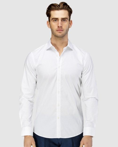 Enlarge  BROOKSFIELD Mens Career Abstract Dot Print Business Shirt BFC1587 BLUE