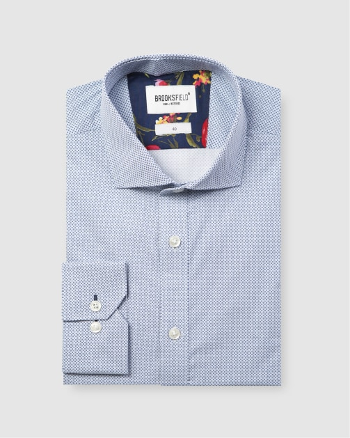 Brooksfield Career Micro Square Print Business Shirt BFC1588 colour: NAVY