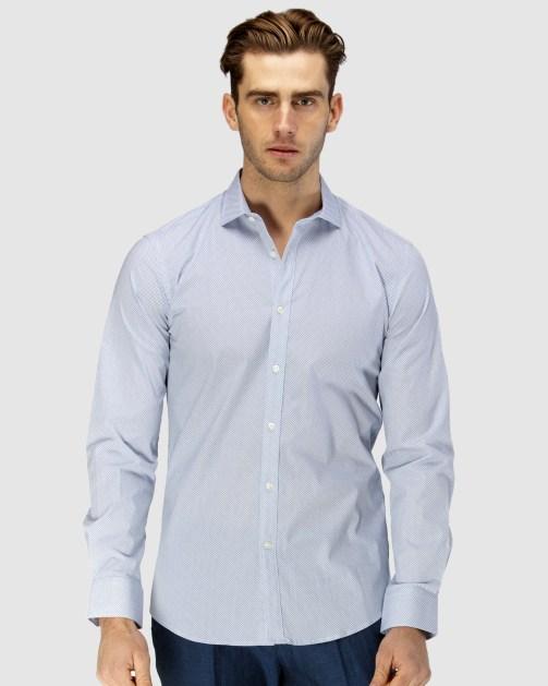 Enlarge  BROOKSFIELD Mens Career Micro Square Print Business Shirt BFC1588 NAVY