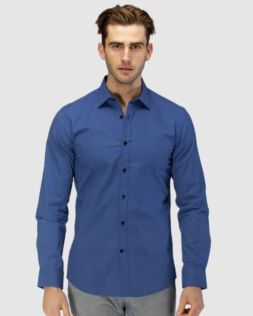 Enlarge  BROOKSFIELD Mens Career Square Print Business Shirt BFC1589 NAVY