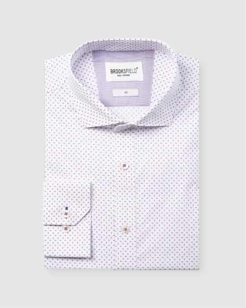 Brooksfield Career Abstract Print Business Shirt BFC1591 colour: PURPLE