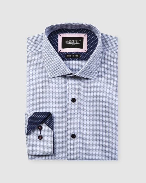 Brooksfield Luxe Textured Floating Dobby Weave Shirt BFC1596 colour: LIGHT BLUE