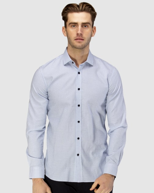 Enlarge  BROOKSFIELD Mens Luxe Textured Floating Dobby Weave Shirt BFC1596 LIGHT BLUE