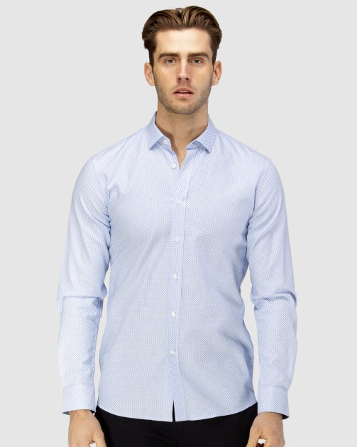 Enlarge  BROOKSFIELD Mens Micro Square Dobby Business Shirt BFC1600 BLUE