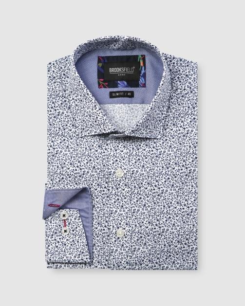 Brooksfield Luxe Vine Leaf Print Slub Business Shirt BFC1606 colour: NAVY