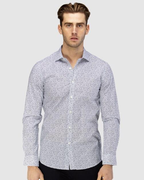 Enlarge  BROOKSFIELD Mens Luxe Vine Leaf Print Slub Business Shirt BFC1606 NAVY