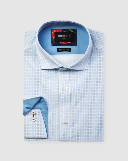 Brooksfield Luxe Geo Print Slub Business Shirt BFC1607 colour: BLUE
