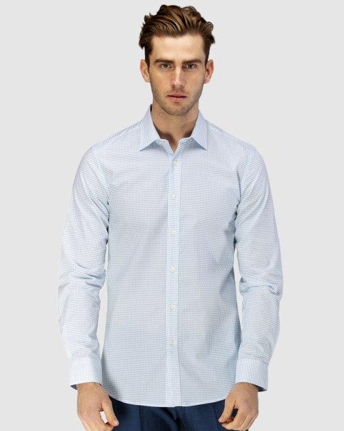 Enlarge  BROOKSFIELD Mens Luxe Two-tone Diamond Print Business Shirt BFC1608 AQUA