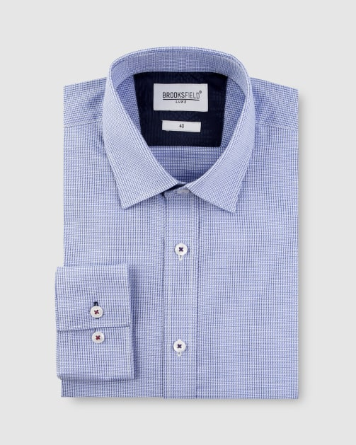 Brooksfield Textured Dobby Business Shirt BFC1620 colour: BLUE