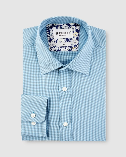 Brooksfield Micro Three Tone Business Shirt BFC1623 colour: AQUA
