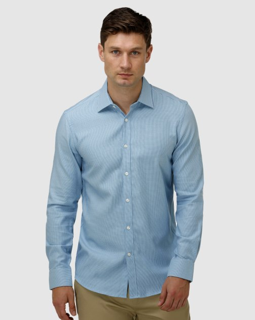 Enlarge  BROOKSFIELD Mens Micro Three Tone Business Shirt BFC1623 AQUA