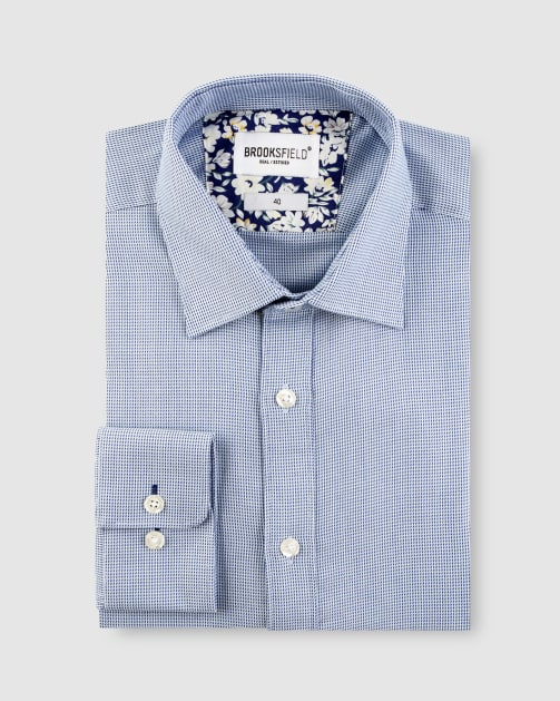 Brooksfield Micro Three Tone Business Shirt BFC1623 colour: BLUE