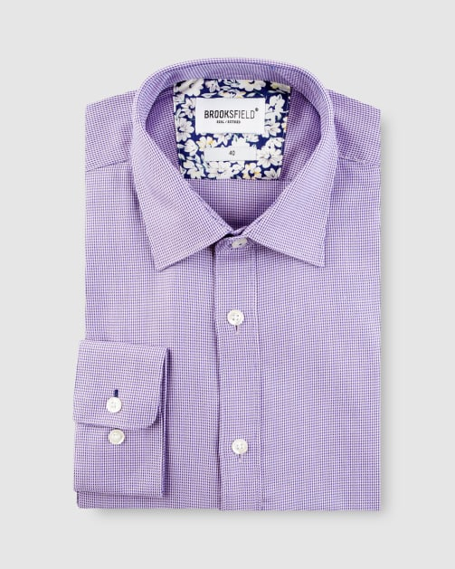 Brooksfield Micro Three Tone Business Shirt BFC1623 colour: Purple