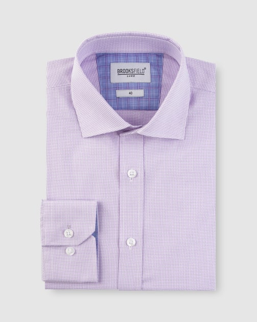 Brooksfield Texture Square Weave Business Shirt BFC1626 colour: LILAC