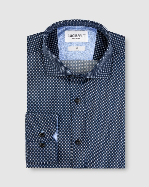 Brooksfield Stretch Micro Square Print Business Shirt BFC1628 colour: NAVY