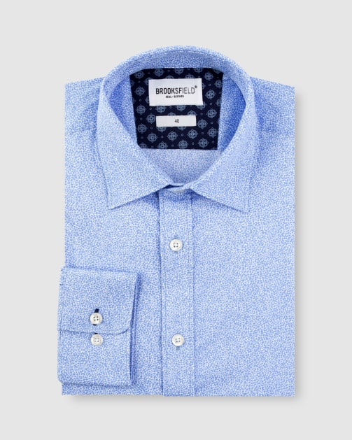 Brooksfield Stretch Abstract Flower Print Business Shirt BFC1629 colour: LIGHT BLUE