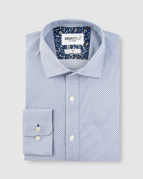 Brooksfield Stretch Intricate Dot Print Business Shirt BFC1630 colour: Navy