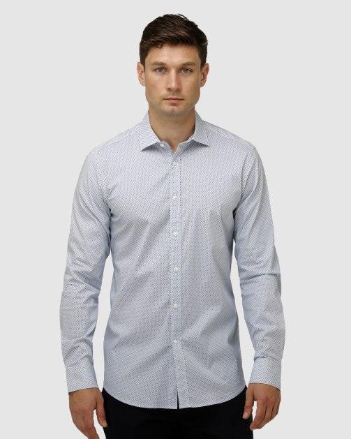 Enlarge  BROOKSFIELD Mens Stretch Intricate Dot Print Business Shirt BFC1630 Navy