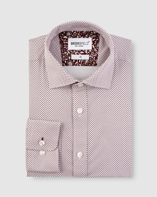 Brooksfield Stretch Intricate Dot Print Business Shirt BFC1630 colour: Wine