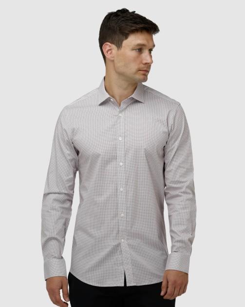 Enlarge  BROOKSFIELD Mens Stretch Intricate Dot Print Business Shirt BFC1630 Wine