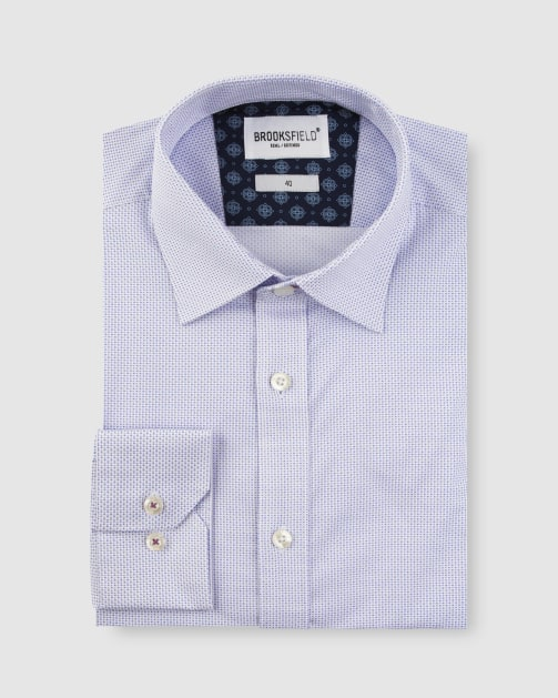 Brooksfield Stretch Double Dot Print Business Shirt BFC1632 colour: LILAC