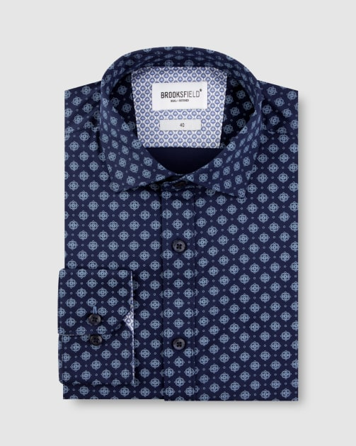 Brooksfield Stretch Motif Print Business Shirt BFC1633 colour: Navy