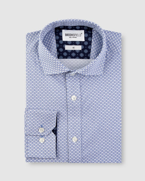 Brooksfield Stretch Feather Print Business Shirt BFC1634 colour: Blue