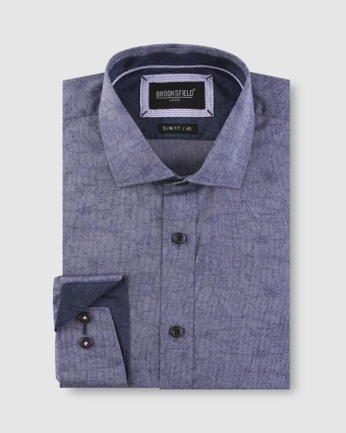 Brooksfield Floral Jacquard Business Shirt BFC1636 colour: NAVY