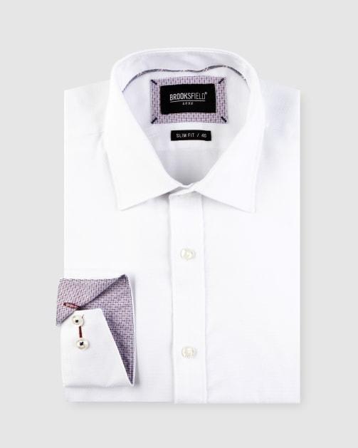 Brooksfield Textured Plain Business Shirt BFC1637 colour: WHITE