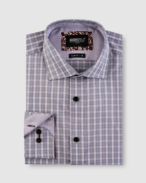 Brooksfield Modern Check Business Shirt BFC1638 colour: WINE