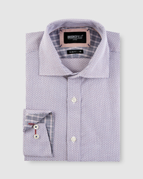 Brooksfield Textured Dobby Business Shirt BFC1639 colour: WINE