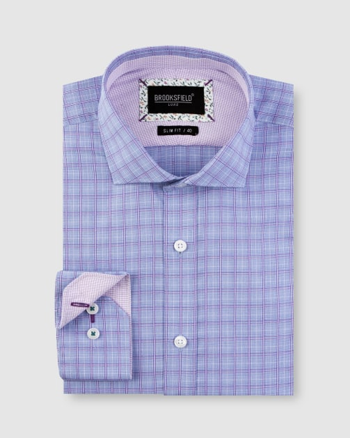 Brooksfield End on End Check Business Shirt BFC1640 colour: BLUE