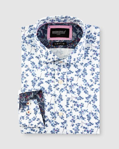 Brooksfield Paisley Print Satin Business Shirt BFC1645 colour: BLUE